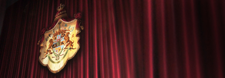 Theatre curtain with town crests